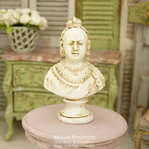 Miniature Resin Bust, Victoria, Aged Plaster Style, Doll House