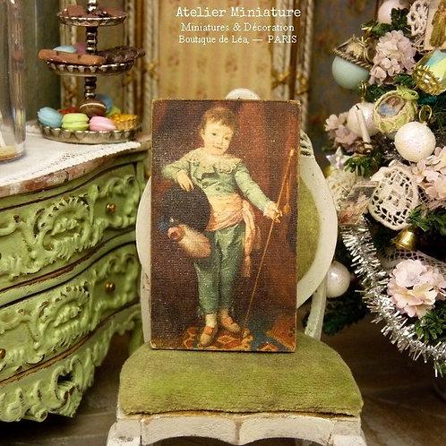 Panneau Miniature en Bois, Garçon en Vert et Rose, Échelle 1/12