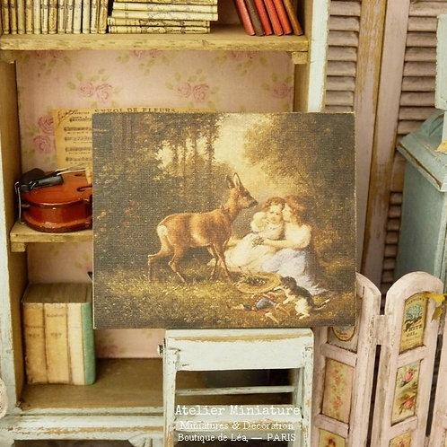 Panneau Miniature en Bois, Daim et Enfants du XIXe, Échelle 1/12
