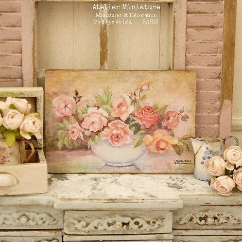 Panneau Miniature en Bois, Coupe de Roses, Échelle 1/12