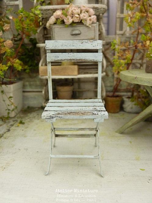 Chaise de Jardin Shabby, Miniature en Bois,