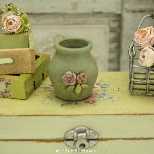 Vase en Céramique Miniature, Vert Provence, Maison de Poupée, 1/12