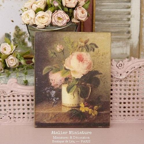Panneau Miniature en Bois, Roses Anglaises, Échelle 1/12