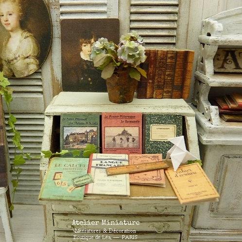 Ensemble de Cahiers, Livres Miniatures d'École Ancienne, 1/12