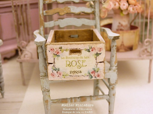 Cagette Miniature en Bois, Shabby Rose, Échelle 1/12