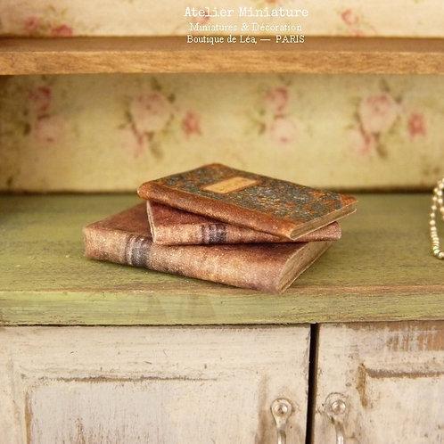 Trois livres anciens (fermés), Miniatures en papier, Échelle 1/12