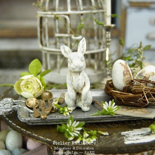 Lapin Miniature Métal, Shabby Chic Blanc