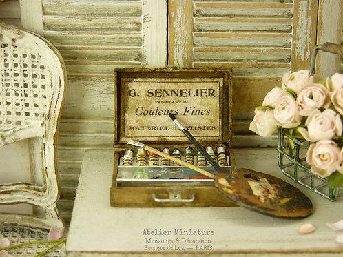 Mallette d'Artiste-Peintre, Miniature en Bois, Maison de Poupée, Échelle 1/12