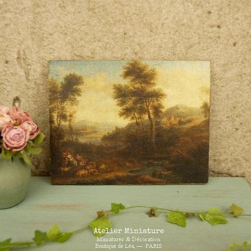 Panneau Miniature en Bois, Paysage XIXe, Échelle 1/12