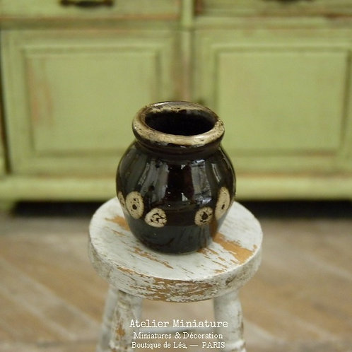 Vase en Céramique Vernissée Miniature, Noir, Maison de Poupée, 1/12