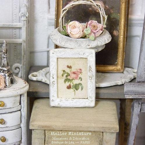 Cadre Miniature en Métal, Roses, Maison de Poupée, 1/12