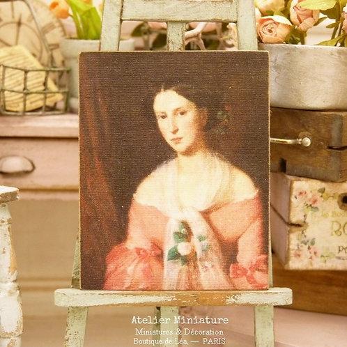 Panneau Miniature en Bois, Femme en Robe Rose, Échelle 1/12