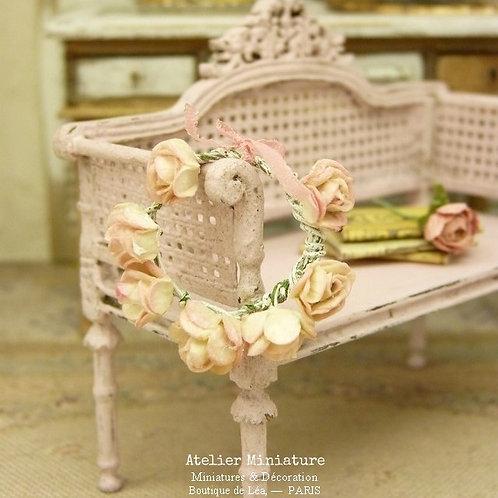 Couronne de Roses ROSE PÂLE, Diamètre trois centimètres