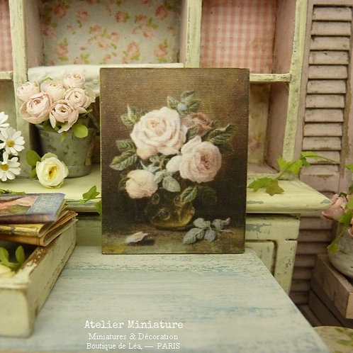Panneau Miniature en Bois, Vase de roses anglaises, Échelle 1/12