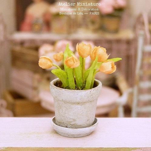 Pot de Tulipes Miniatures, Saumon, Fleurs en Papier,100% fait main, 1/12
