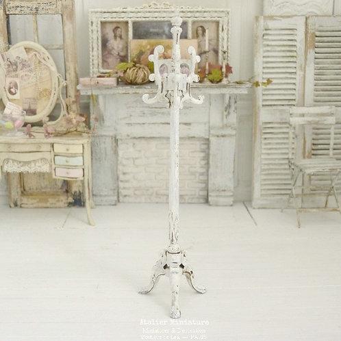 Porte-Manteau Miniature en Bois, Shabby Chic Blanc, Maison de Poupée, 1/12