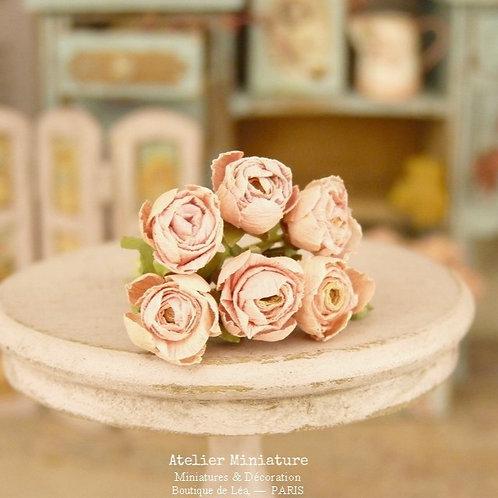 Bouquet de 6 Roses Roses Miniatures, Nuances de Rose, Maison de Poupée,