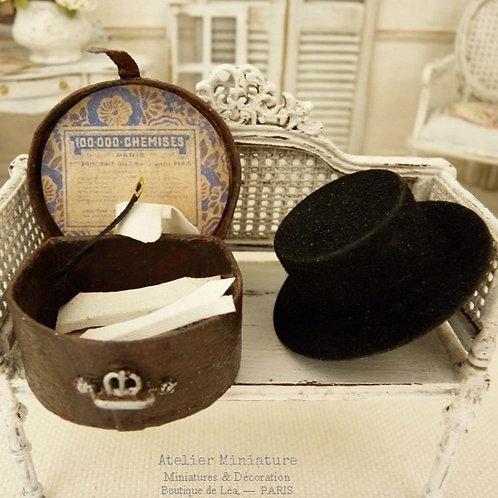 Black Hat, Hat Box leather imitation, Shirt collars & Node 1900, 1/12