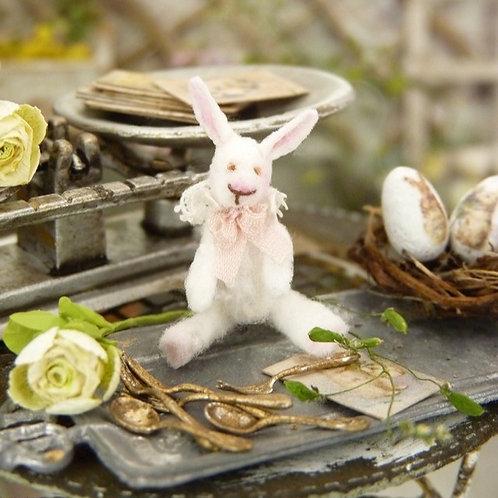 Petit Lapin Blanc Miniature, Maison de Poupée