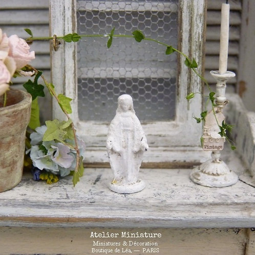 Statuette de la Vierge Marie, Shabby Blanc