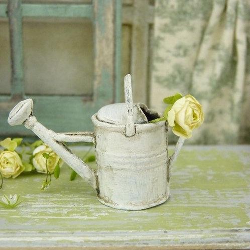 Arrosoir Miniature en Métal , Shabby Chic Blanc
