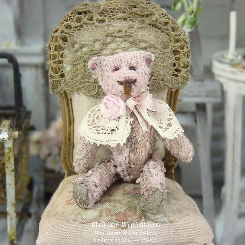 Ourson  Miniature Vieux Rose, Maison de Poupée 1/12