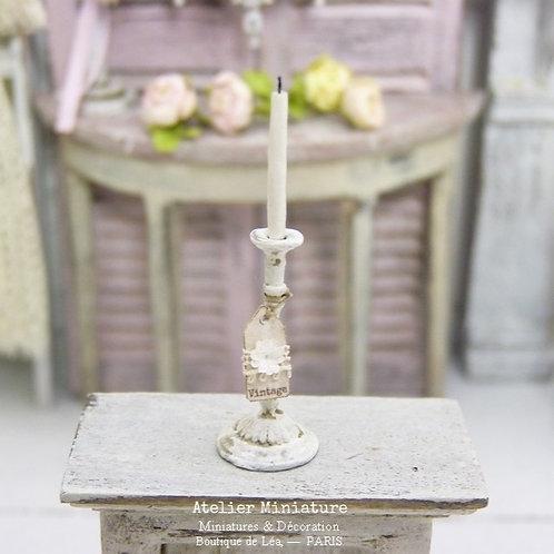 Bougeoir Miniature en Métal, Shabby Chic Vintage, Maison de Poupée, Échelle 1/12