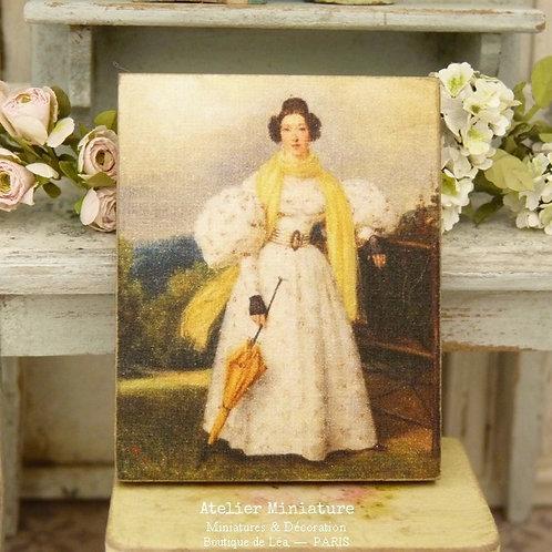 Panneau Miniature en Bois, Jeune Femme en Robe Blanche, Échelle 1/12