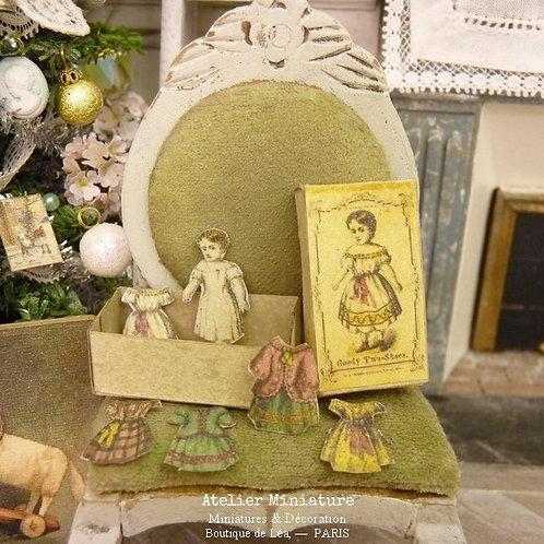Poupée en Papier Découpé, Boîte et Vêtements, Jouet de Maison de Poupée