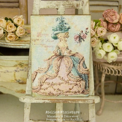Panneau Miniature en Bois, Marie-Antoinette, Échelle 1/12
