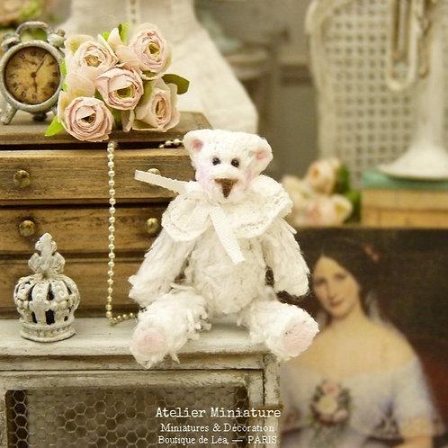 Ourson Blanc Miniature, Maison de Poupée 1/12