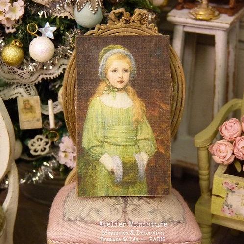 Panneau Miniature en Bois, Fillette en Vert , Échelle 1/12