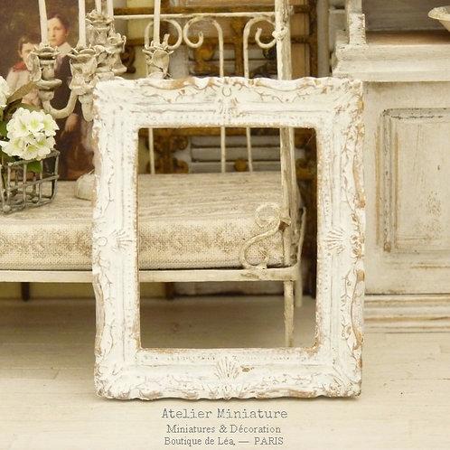 Cadre miniature baroque, Shabby Chic Blanc, Maison de Poupée, 1/12