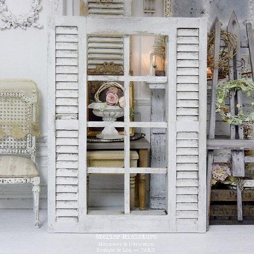 Fenêtre Décor en Bois Miniature, Blanc Vieilli, Persiennes Fixes