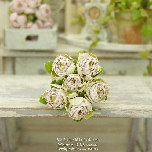 6 Roses Miniatures, Fleurs en Papier, 100% fait main, Maison de Poupée,