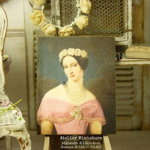 Panneau Miniature en Bois, Portrait imprimé, Échelle 1/12
