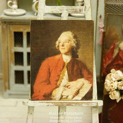 Panneau Miniature en Bois, Portrait d'Homme XVIIIe, Échelle 1/12