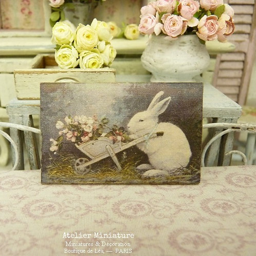 Doll House, Miniature Printed Sign, Wooden Panel, Rabbit with Flowered Wheelbarrow, Decorative and Collectible Accessory, Scale 1/12