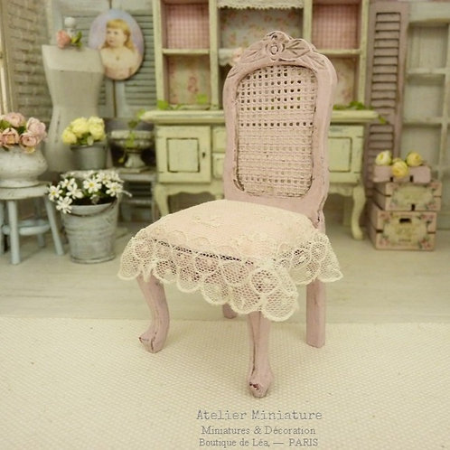 Louis 15th Chair, Cane Imitation, Old French Lace, Shabby Rose, Miniature House Furniture, scale 1/12
