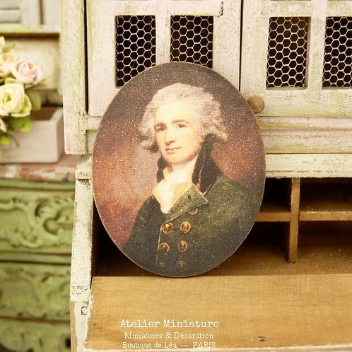 French Doll House, 1/12 Scale, Wooden Oval Portrait, Man in Yellow Jacket, Printed Miniature Reproduction, Decorative Accessory