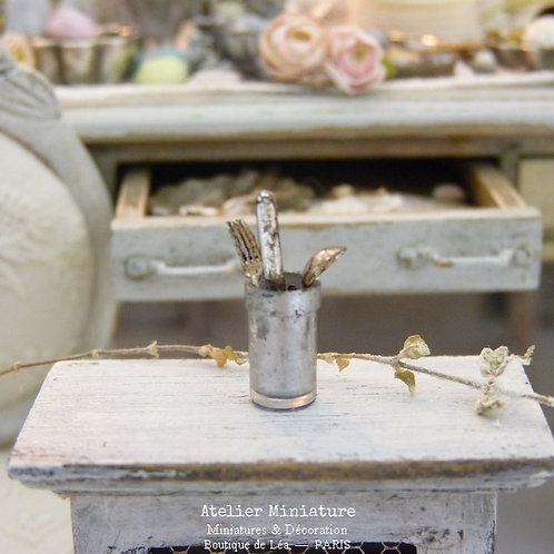 Verre Mercurisé Miniature + 3 couverts, Maison de Poupée,