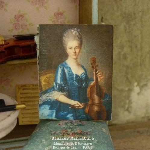 Panneau Miniature en Bois, Portrait de Femme en Bleu XVIIIe et Violon,1/12