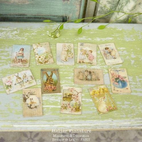 12 Cartes Postales Vintage, Pâques, Maison de Poupée