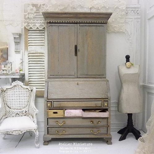 Bureau Bibliothèque Campagne Chic, Miniature en bois, Maison de Poupée,