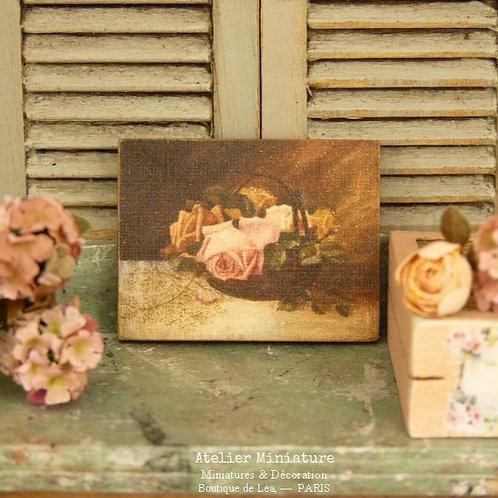 Panneau Miniature en Bois, Panier de Roses, Échelle 1/12