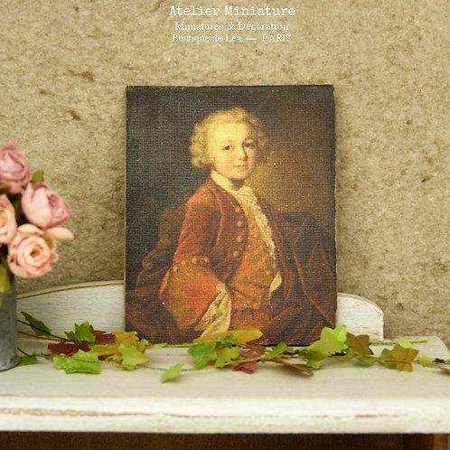 Panneau Miniature en Bois, Garçon XVIIIe, Échelle 1/12