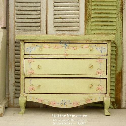 Marie Antoinette Chest of Drawers, Printed Decors, Dollhouse, Scale 1/12