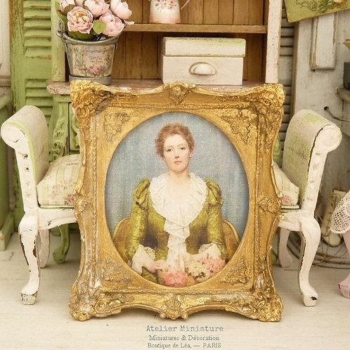 Miniature French Baroque Frame, Gold aged, Dollhouse 1:12th scale