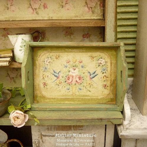 Plateau miniature en bois, Vert Provence, Maison de Poupée, Échelle 1/12