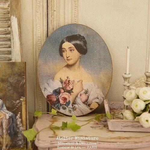 Panneau Ovale Miniature en Bois, Victoria, Maison de Poupée 1/12